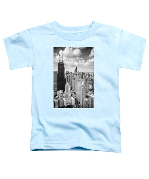 John Hancock Building In The Gold Coast Black And White Toddler T-Shirt by Adam Romanowicz