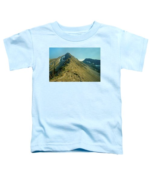 Llama Packer Hiking A Steep Rocky Mountain Peak Trail Toddler T-Shirt by Jerry Voss