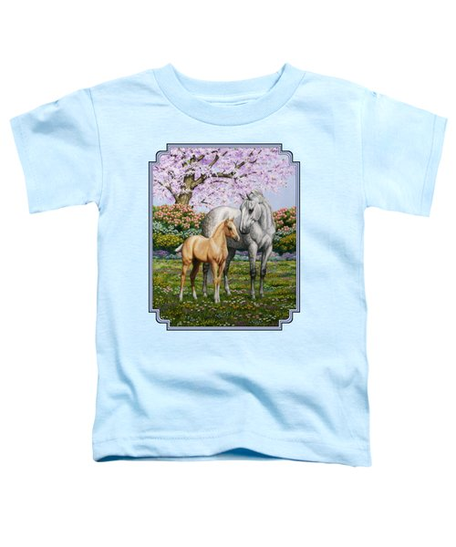 Mare And Foal Pillow Blue Toddler T-Shirt by Crista Forest