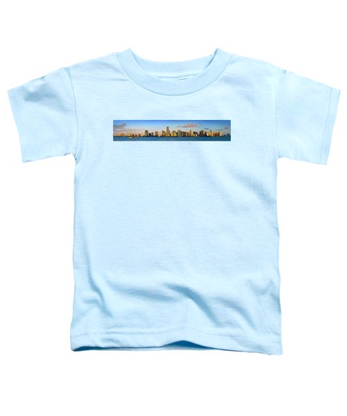 Miami Skyline In Morning Daytime Panorama Toddler T-Shirt by Jon Holiday