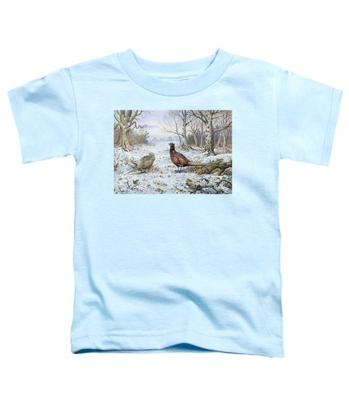 Pair Of Pheasants With A Wren Toddler T-Shirt by Carl Donner
