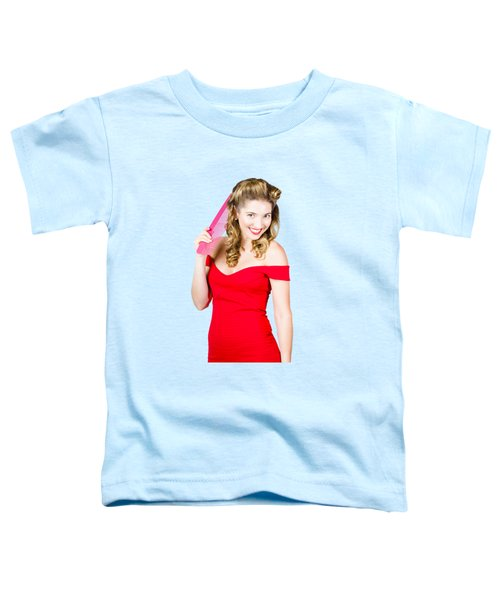 Pin-up Styled Fashion Model With Classic Hairstyle Toddler T-Shirt by Jorgo Photography - Wall Art Gallery
