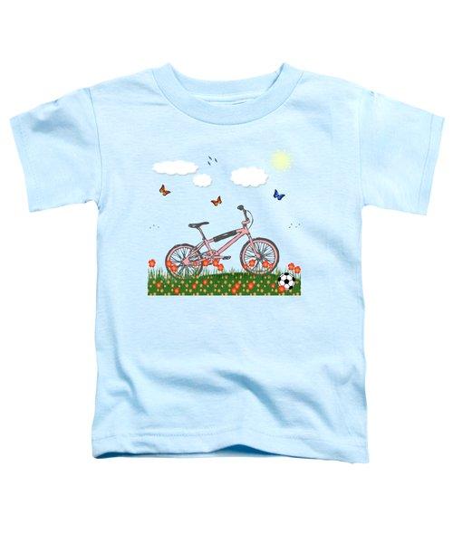 Pink Bicycle Toddler T-Shirt by Gaspar Avila