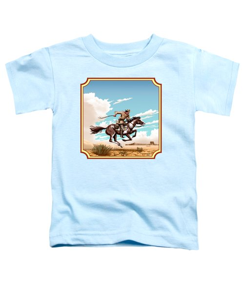 Pony Express Rider - Western Americana - Square Format Toddler T-Shirt by Walt Curlee