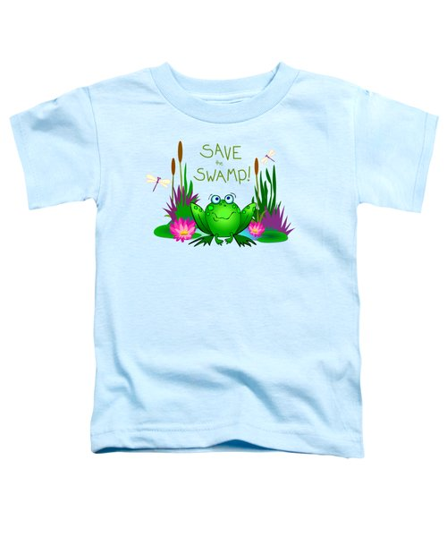 Save The Swamp Twitchy The Frog Toddler T-Shirt by M Sylvia Chaume