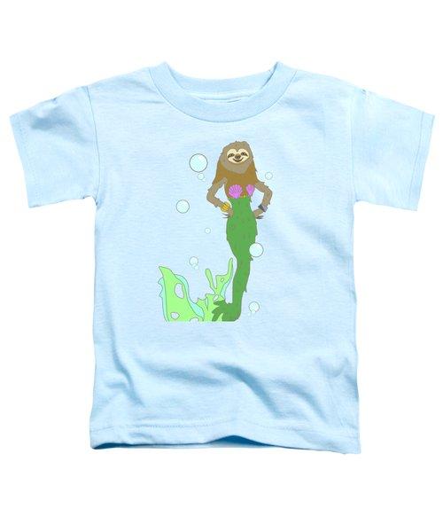 Sloth Mermaid Toddler T-Shirt by Notsniw Art
