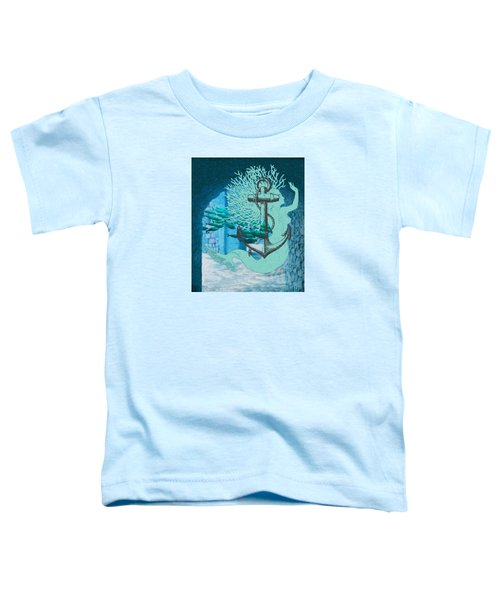 The Mermaid The Anchor And School Of Fish In The Underwater Ruins Toddler T-Shirt by Sandra McGinley