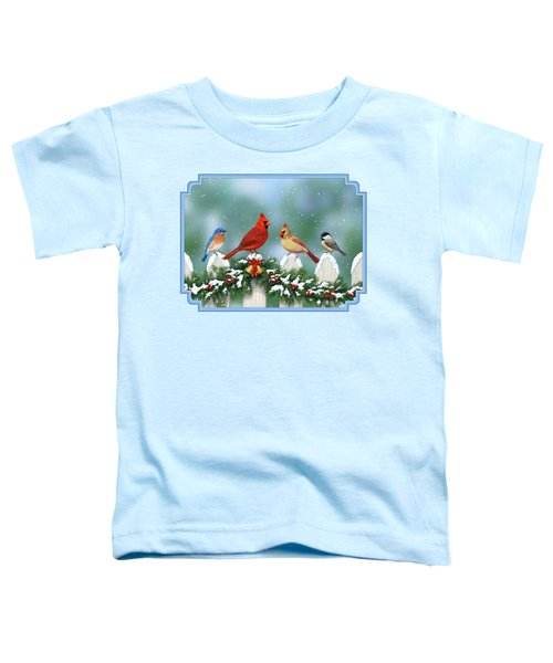 Winter Birds And Christmas Garland Toddler T-Shirt by Crista Forest