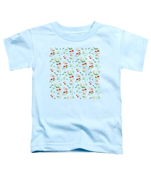 Woodland Fairy Tale - Red Mushrooms N Owls Toddler T-Shirt by Audrey Jeanne Roberts