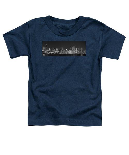 Chicago Skyline At Night Black And White Panoramic Toddler T-Shirt by Adam Romanowicz