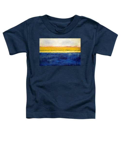 Abstract Dunes With Blue And Gold Toddler T-Shirt by Michelle Calkins