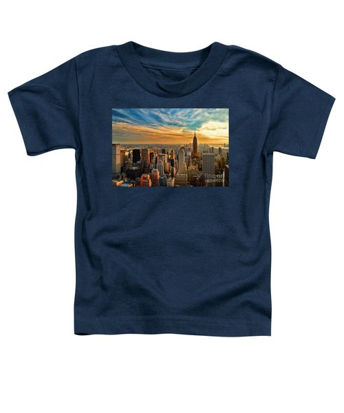 City Sunset New York City Usa Toddler T-Shirt by Sabine Jacobs
