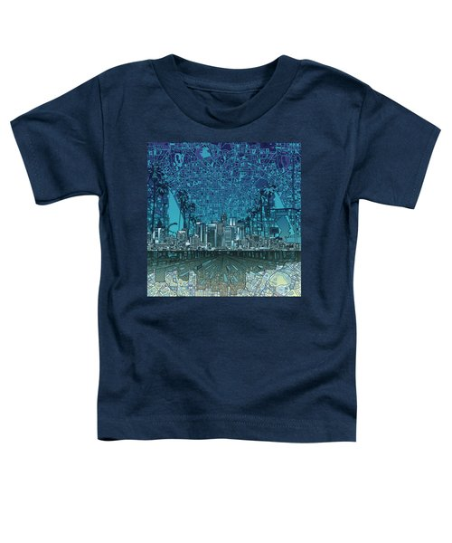Los Angeles Skyline Abstract 5 Toddler T-Shirt by Bekim Art