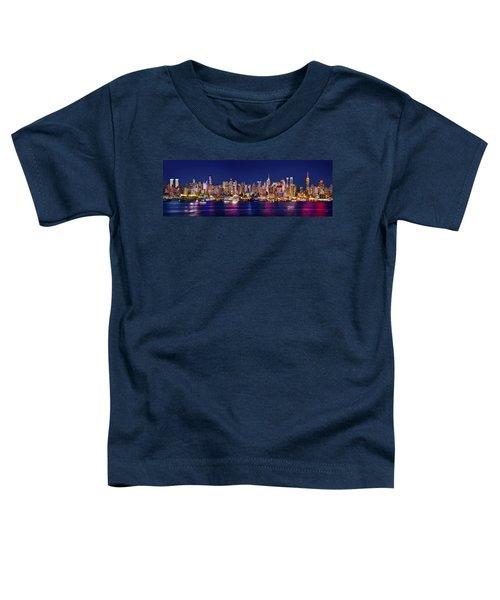 New York City Nyc Midtown Manhattan At Night Toddler T-Shirt by Jon Holiday
