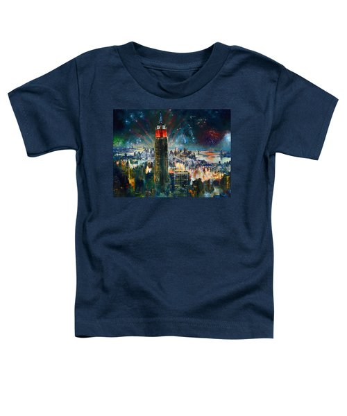 Nyc In Fourth Of July Independence Day Toddler T-Shirt by Ylli Haruni