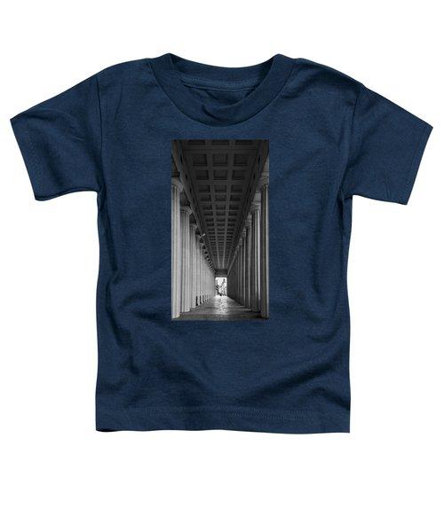 Soldier Field Colonnade Chicago B W B W Toddler T-Shirt by Steve Gadomski