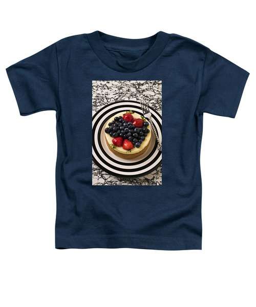 Cheese Cake On Black And White Plate Toddler T-Shirt by Garry Gay