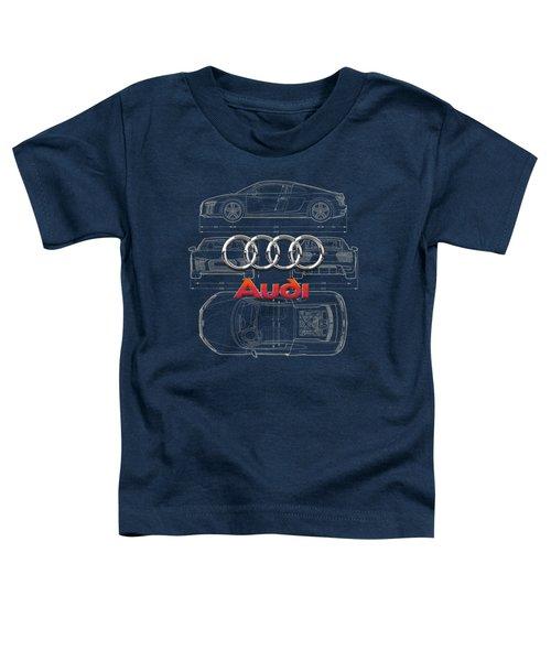 Audi 3 D Badge Over 2016 Audi R 8 Blueprint Toddler T-Shirt by Serge Averbukh