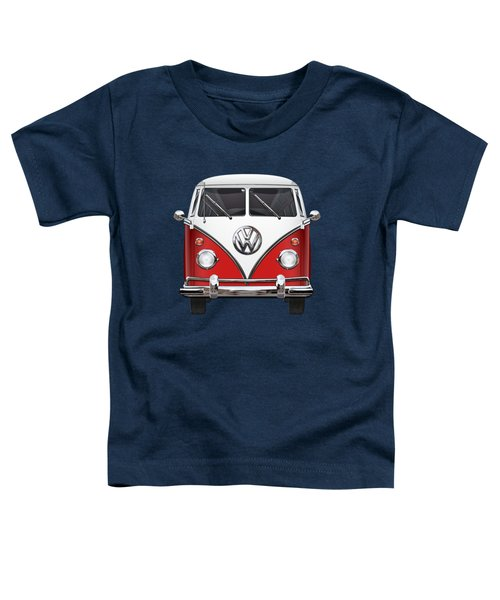 Volkswagen Type 2 - Red And White Volkswagen T 1 Samba Bus Over Green Canvas  Toddler T-Shirt by Serge Averbukh