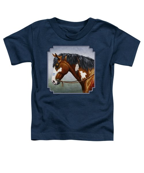 Bay Native American War Horse Toddler T-Shirt by Crista Forest