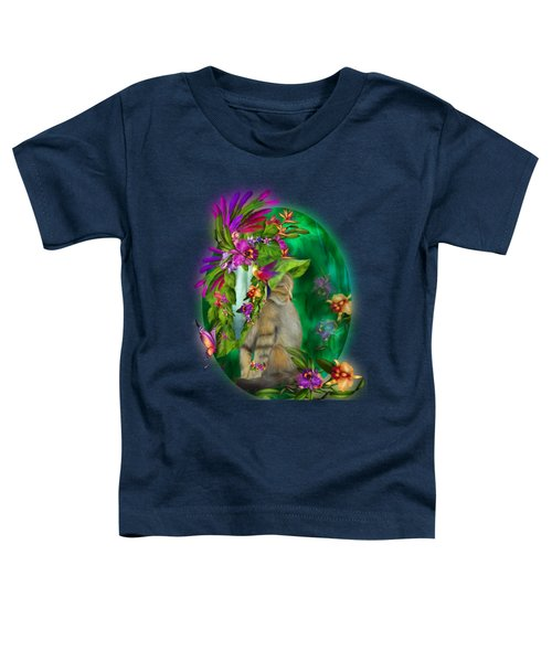Cat In Tropical Dreams Hat Toddler T-Shirt by Carol Cavalaris