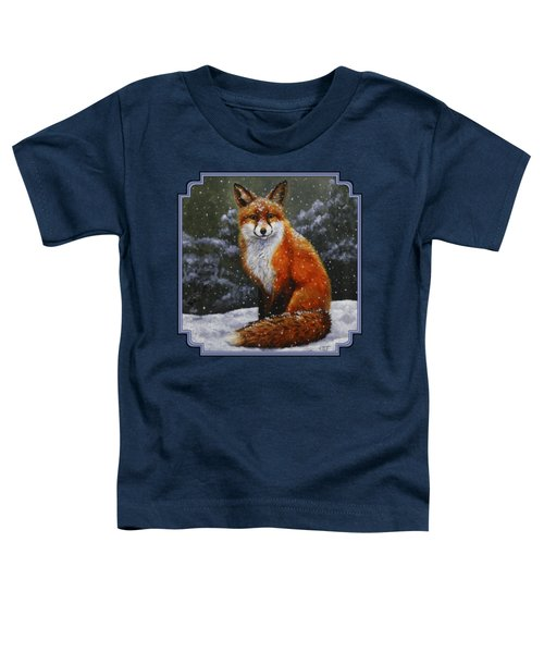 Snow Fox Toddler T-Shirt by Crista Forest