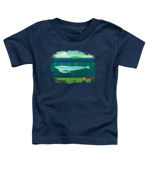 Blue Whale Toddler T-Shirt by David Ardil