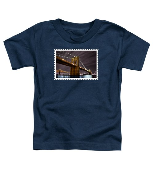 Brooklyn Bridge At Night New York City Toddler T-Shirt by Elaine Plesser