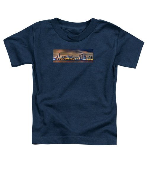 Chicago Skyline At Night Panorama Color 1 To 3 Ratio Toddler T-Shirt by Jon Holiday