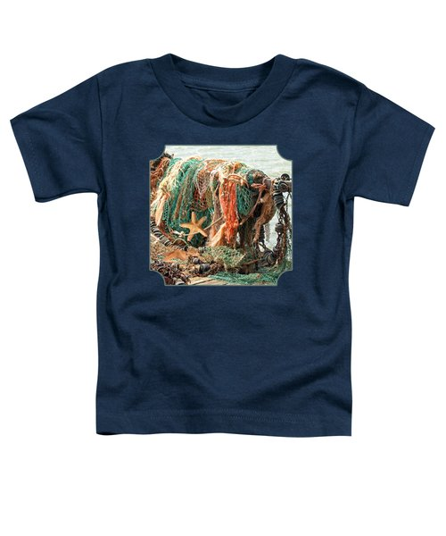 Colorful Catch - Starfish In Fishing Nets Square Toddler T-Shirt by Gill Billington