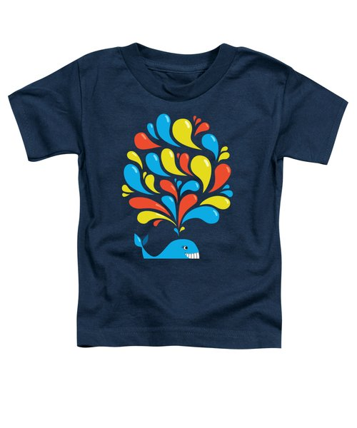 Dark Colorful Splash Happy Cartoon Whale Toddler T-Shirt by Boriana Giormova