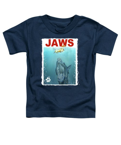 Dog-themed Jaws Caricature Art Print Toddler T-Shirt by John LaFree