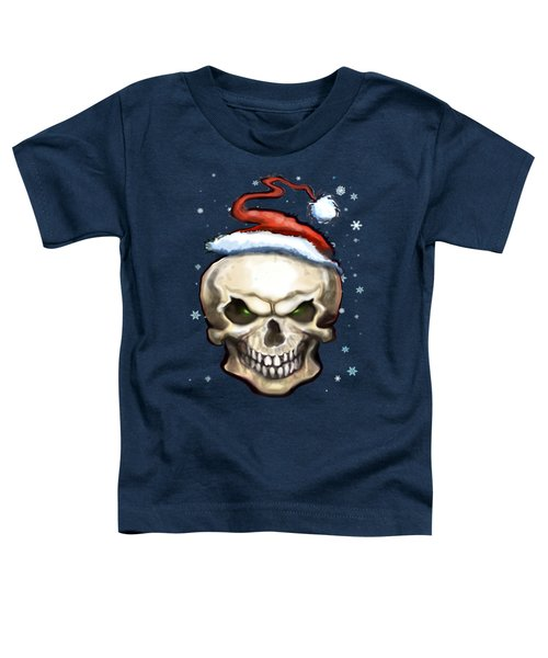Evil Christmas Skull Toddler T-Shirt by Kevin Middleton