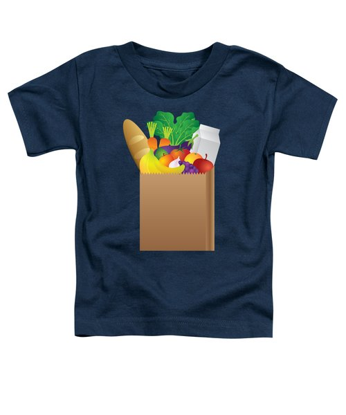 Grocery Paper Bag Of Food Illustration Toddler T-Shirt by Jit Lim