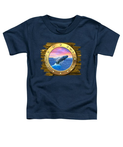 Humpback Whale Breaching At Sunset Toddler T-Shirt by Glenn Holbrook