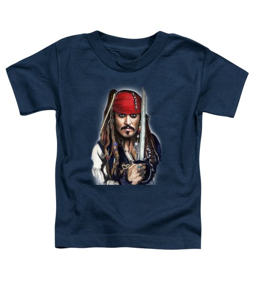 Johnny Depp As Jack Sparrow Toddler T-Shirt by Melanie D