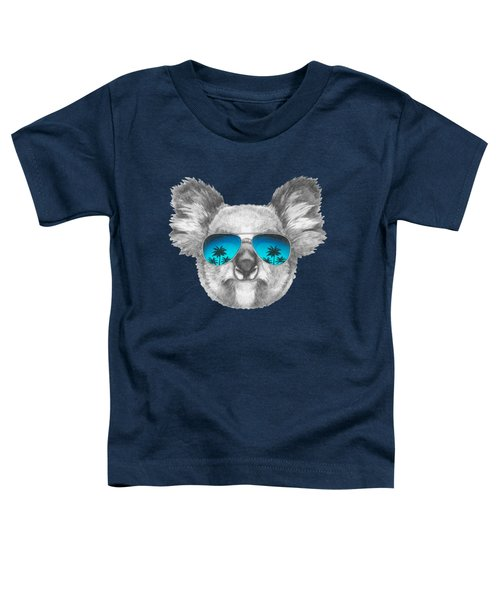 Koala With Mirror Sunglasses Toddler T-Shirt by Marco Sousa
