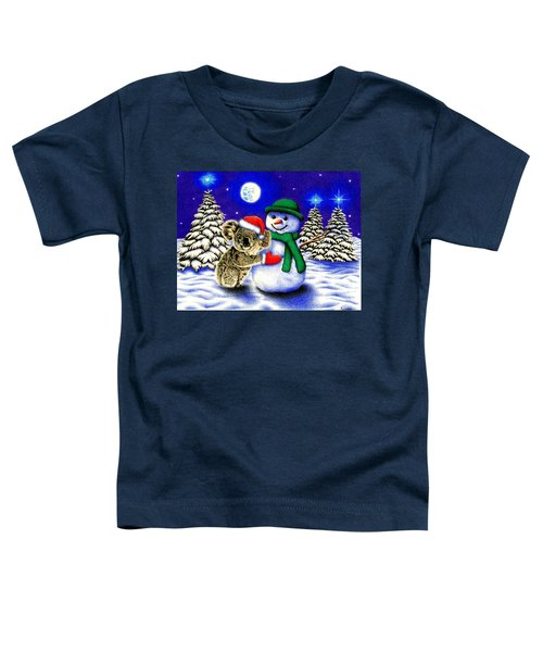 Koala With Snowman Toddler T-Shirt by Remrov