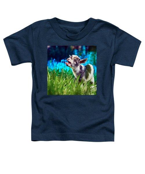 Baby Goat Kid Singing Toddler T-Shirt by TC Morgan