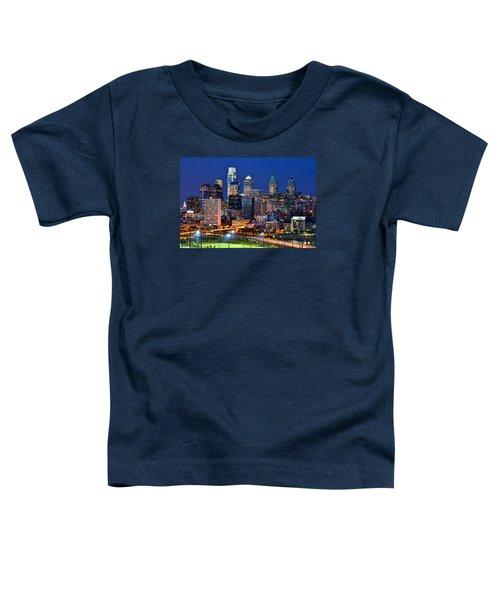 Philadelphia Skyline At Night Toddler T-Shirt by Jon Holiday