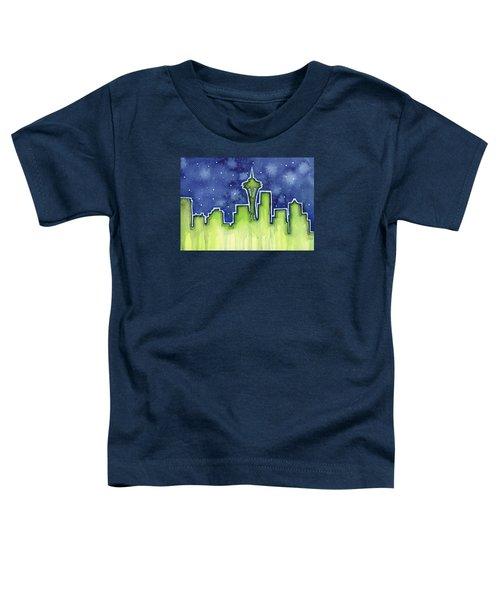 Seattle Night Sky Watercolor Toddler T-Shirt by Olga Shvartsur