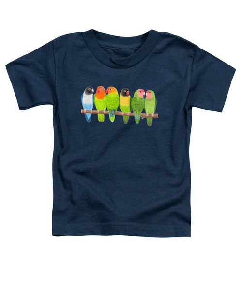 Six Lovebirds Toddler T-Shirt by Rita Palmer