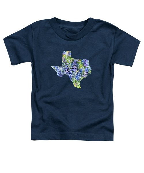 Texas Blue Texas Map On White Toddler T-Shirt by Hailey E Herrera