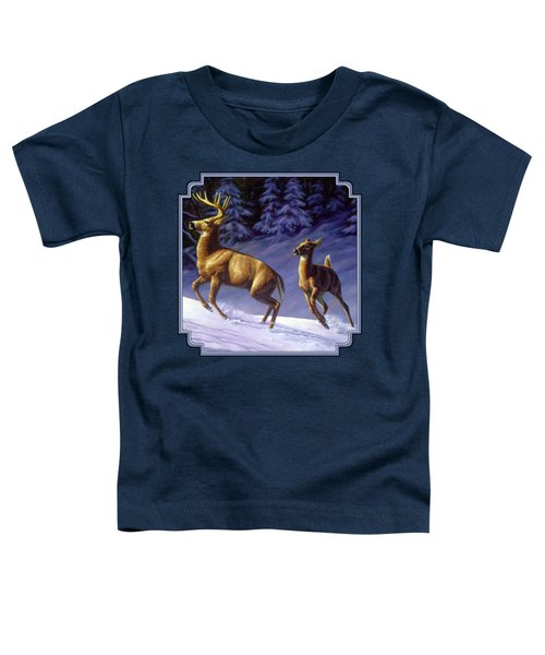 Whitetail Deer Painting - Startled Toddler T-Shirt by Crista Forest