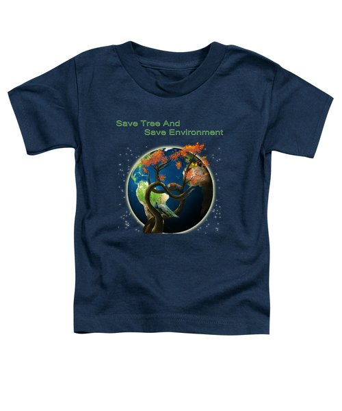 World Needs Tree Toddler T-Shirt by Artist Nandika  Dutt