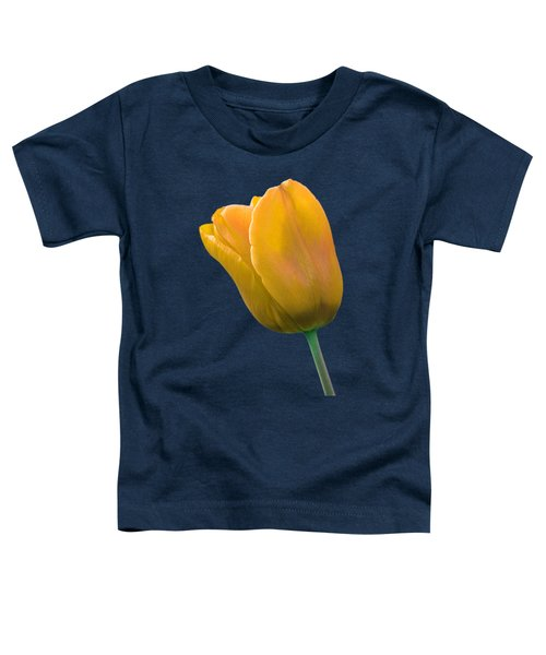 Yellow Tulip On Black Toddler T-Shirt by Gill Billington