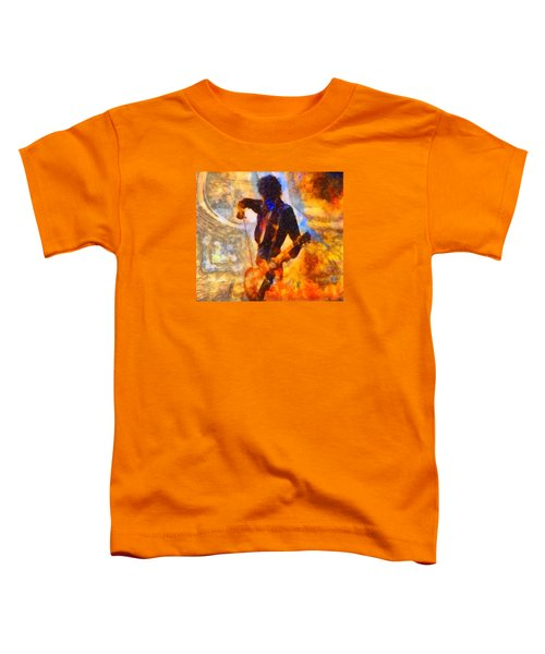 Jimmy Page Playing Guitar With Bow Toddler T-Shirt by Dan Sproul