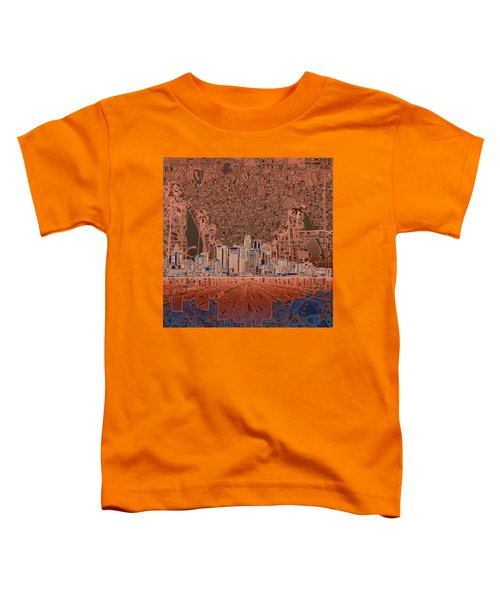Los Angeles Skyline Abstract 7 Toddler T-Shirt by Bekim Art