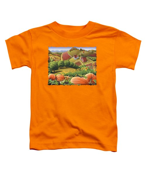 Farm Landscape - Autumn Rural Country Pumpkins Folk Art - Appalachian Americana - Fall Pumpkin Patch Toddler T-Shirt by Walt Curlee