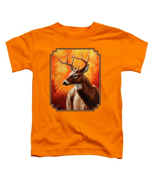 Whitetail Buck Portrait Toddler T-Shirt by Crista Forest